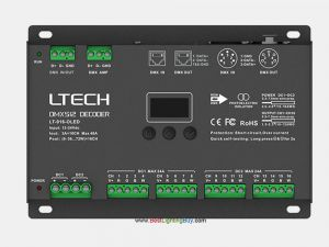 16 Channel DMX RDM to PWM Decoder, 3A/CH, XLR-5, RJ45, 12-24V DC