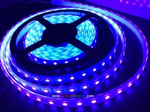 395-400nm Ultraviolet SMD5050 Flexible LED Strip, 60LEDs/M, 12VDC