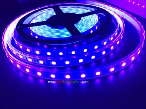 400-405nm Ultraviolet SMD5050 Flexible LED Strip, 60LEDs/M, 12VDC