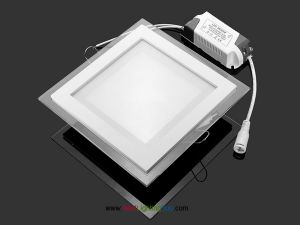 6 Inch Square LED Recessed Light Panel with Decorative Edge Lit Glass