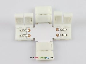 """L"" ""T"" ""+"" Shape 2-Conductor Quick Splitter Connector for 3528/5050 LED Strip Lights"