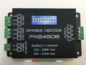 PX24506 3 Channels DMX 512 Decoder, DC12-24V