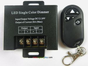 Single Color LED Dimmer with 3-Key RF Remote, DC12-24V, 20A
