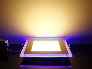 Slim Acrylic Square Recessed Blue Edge-lit LED Panel, 10W/15W/20W Available