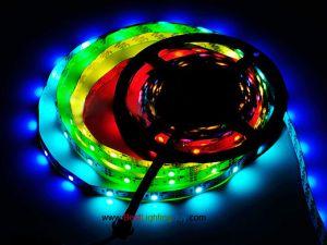 WS2812B Intelligent RGB LED Strip, 30 LED/M, DC5V, 16.4Ft/Reel, Sold by Reel
